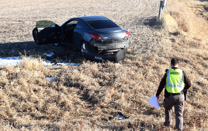 1 woman was injured in an accident off Hwy 30 near Kennard, landing in an embankment after swerving to avoid a turning Honda.