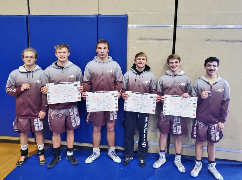 Arlington wrestlers Alex Luttig, from left, Kobe Wilkins, Remington Gay, Josh Miller, Hunter Gilmore and Trevor Cooley qualified for the state wrestling championships with their district performances Friday and Saturday in Pierce.