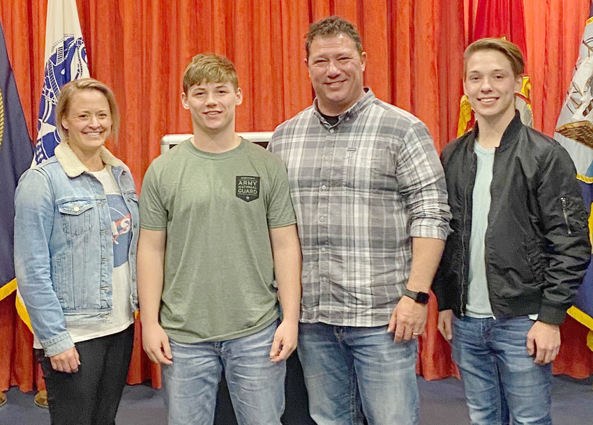 The Mockenhaupts were pleased to support their youngest son's decision to join the Army National Guard.Pictured are Alison, new recruit Alec, Greg and Alec's older brother Connor.