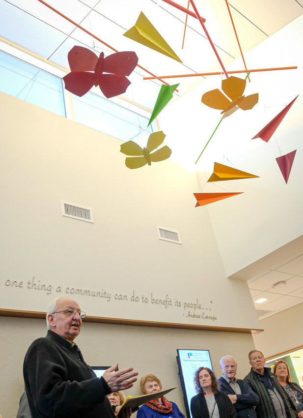 "Dreamers welcome! Artist Milt Heinrich talks about his aerial sculpture, which hangs in the entryway at the Blair Public Library and Technology Center, and his art gallery exhibit, ""The Visionary World of Milt Heinrich."""