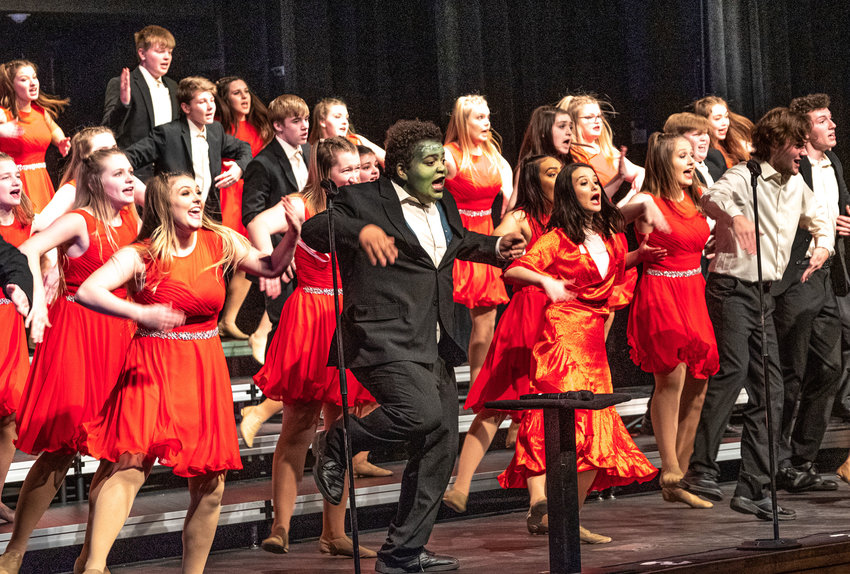 Ovation show choir performs a Frankenstein-themed show during the show choir workshop at Blair High School on Saturday. Due to the cold and high winds, all but the Blair Schools were forced to cancel.