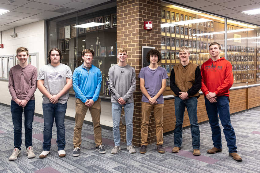 Blair High School students Zach Kern, TJ Swaney, Morgan Rump, Ben Hagedorn, Riley Camelin, Treyton Jones and Ben Boquet helped design the plans for a new BHS office.