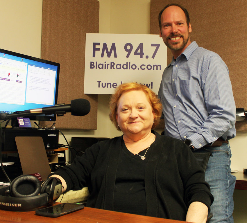 Connie Green and Kelly Johnson of Blair Radio, a radio station which started Dec. 1 that aims to focus on the Blair and surrounding area.