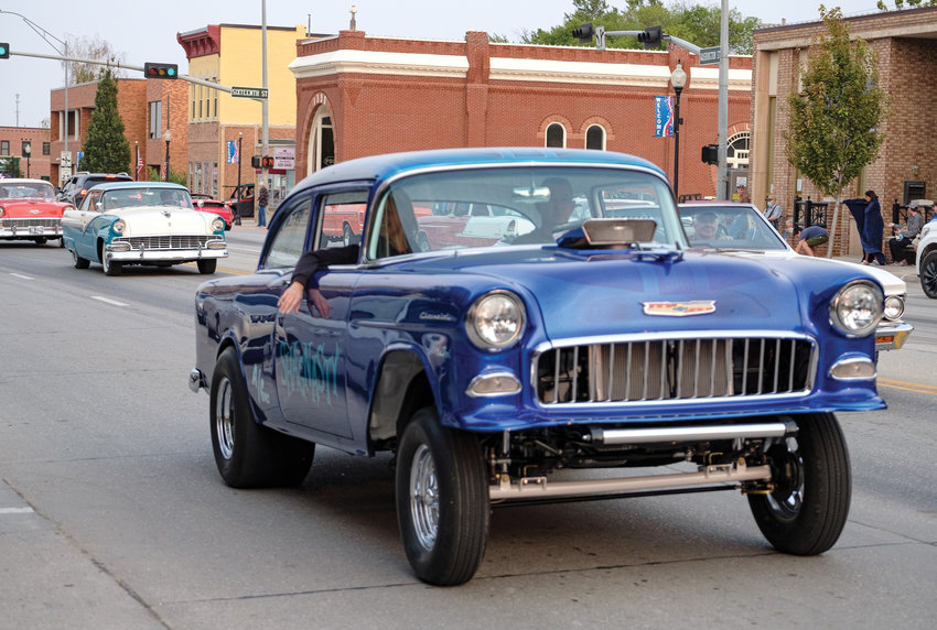 A Shagnasty 55 Chevy hotrod cruises Washington in September for Blair Cruise Night.