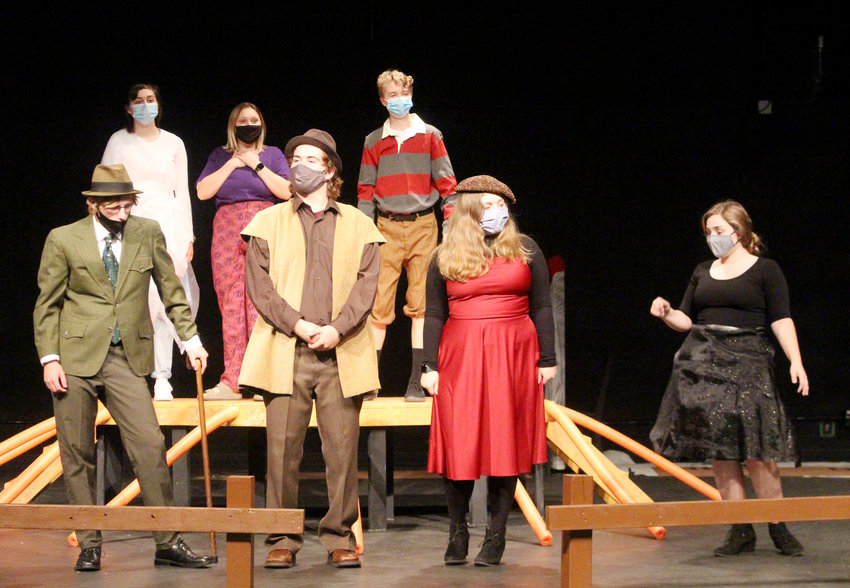 """The cast of the Blair High School production of """"James and the Giant Peach"""" rehearse Tuesday in the auditorium. Pictured front, from left, are: Canton Lippincott as the Old Green Grasshopper, Chase Jensen as the Earthworm, Morgan Thompson as the Ladybug, and Evelyn Rothanzl as the Spider. Back: Jenna Jennings as the Glow-worm, Olivia Nelson as the Centipede, and Cayden Otte as James."""