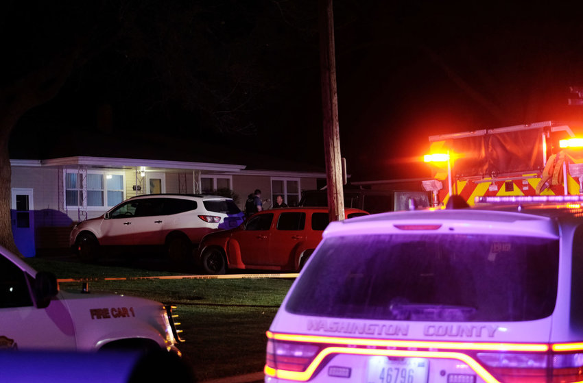 Blair police and Washington County sheriff's deputies were on the scene of an officer and deputy-involved shooting April 15 in the 1100 block of Adams Street in Blair.
