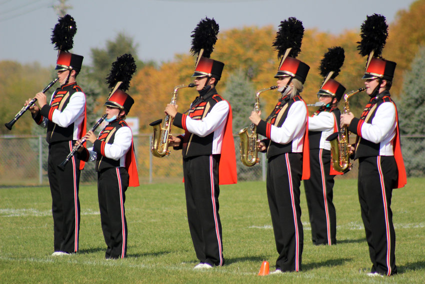 """The Fort Calhoun Junior-Senior High School marching band performed from Cirque du Soleil's """"La Nouba"""" Saturday for a band exhibition."""