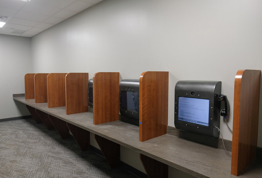 The remote visitation center at the Justice Center has several video-calling stations for inmates and visitors to chat without the inmates ever leaving their cells.