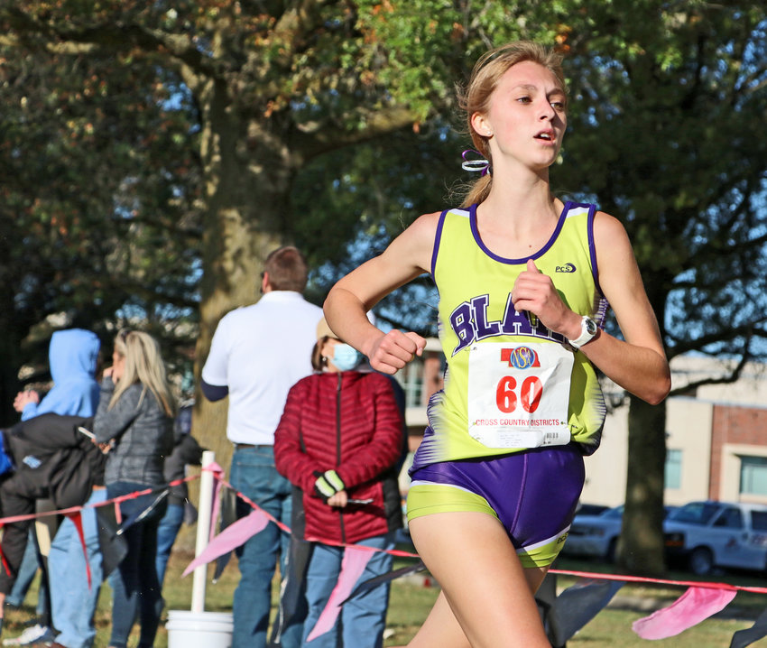 Cayli Penner and her Blair Bear teammates compete at the NSAA State XC Championships today in Kearney.