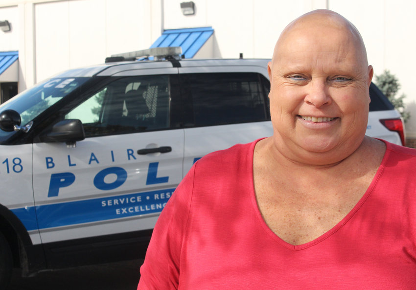 Amy Thallas, who recently finished chemotherapy treatments, was diagnosed with breast cancer earlier this year. Thallas works at the Blair Police Department.