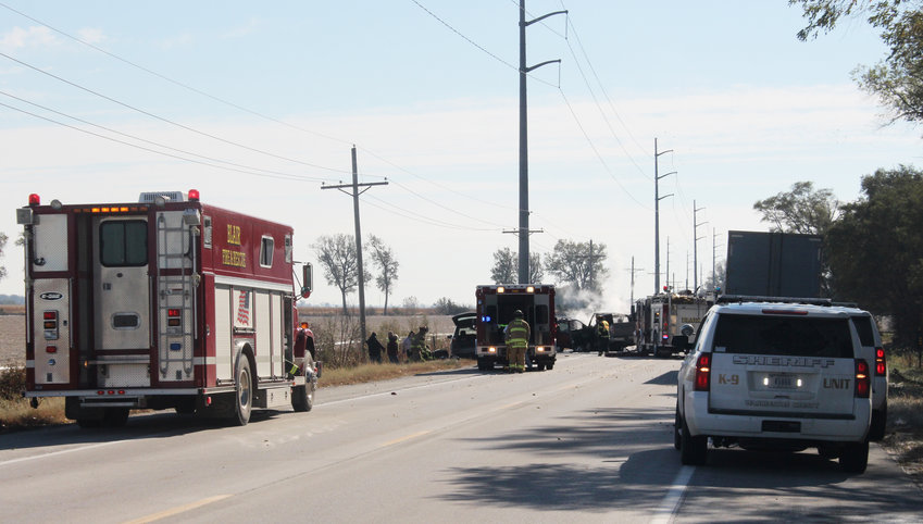 Washington County sheriff's deputies and Blair and Fort Calhoun fire and rescue personnel respond to a two-vehicle accident Tuesday on U.S. Highway 75 south of Blair.