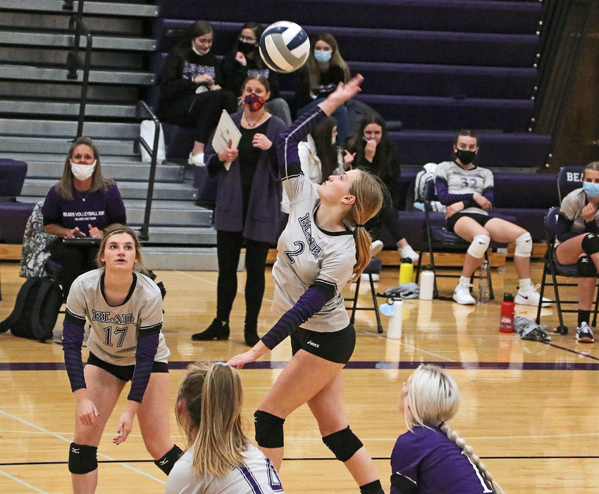 Bears senior Carley Damme rises to spike the ball Tuesday during the B-5 Subdistrict Tournament at Blair High School.
