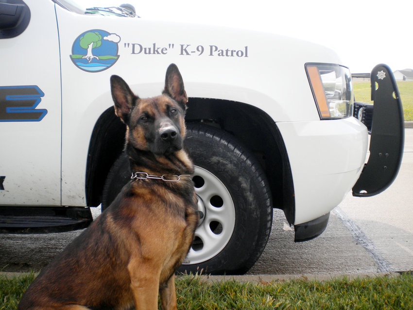 Duke, a trained police dog for the Blair Police Department, officially retired Oct. 31.