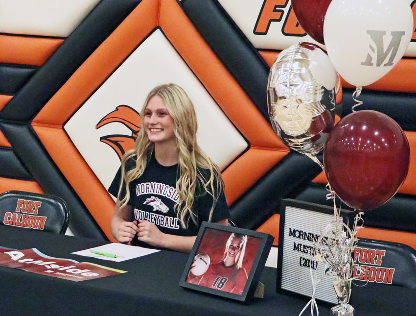 Fort Calhoun senior Ellie Lienemann signed with the Morningside College Mustangs to play college volleyball next fall.