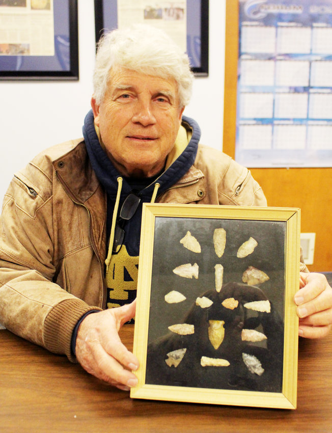 Jim Diggins of Blair holds a display case of Native American points, commonly referred to as arrowheads, that he has found over the years.