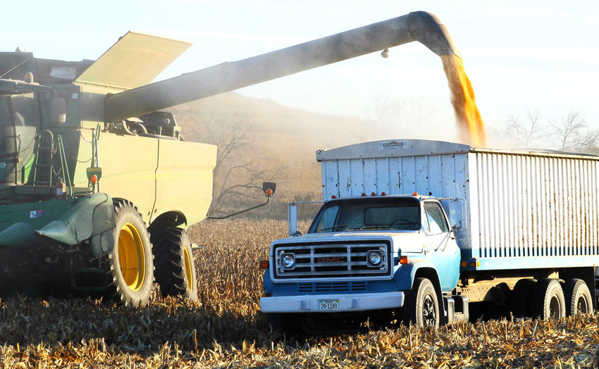 Joe Fryman's combine loads corn into a grain truck along County Road 34 south of Blair in this file photo.