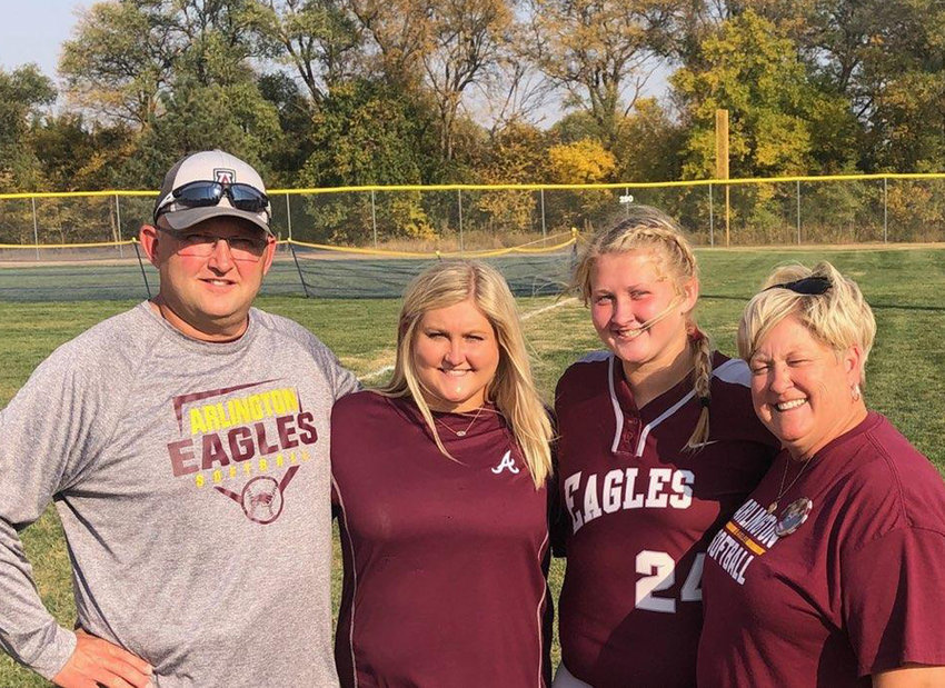After a difficult summer, the Brenn family of Luke, from left, Alexa, Hailey and Peggy were able to enjoy the Arlington softball season together.