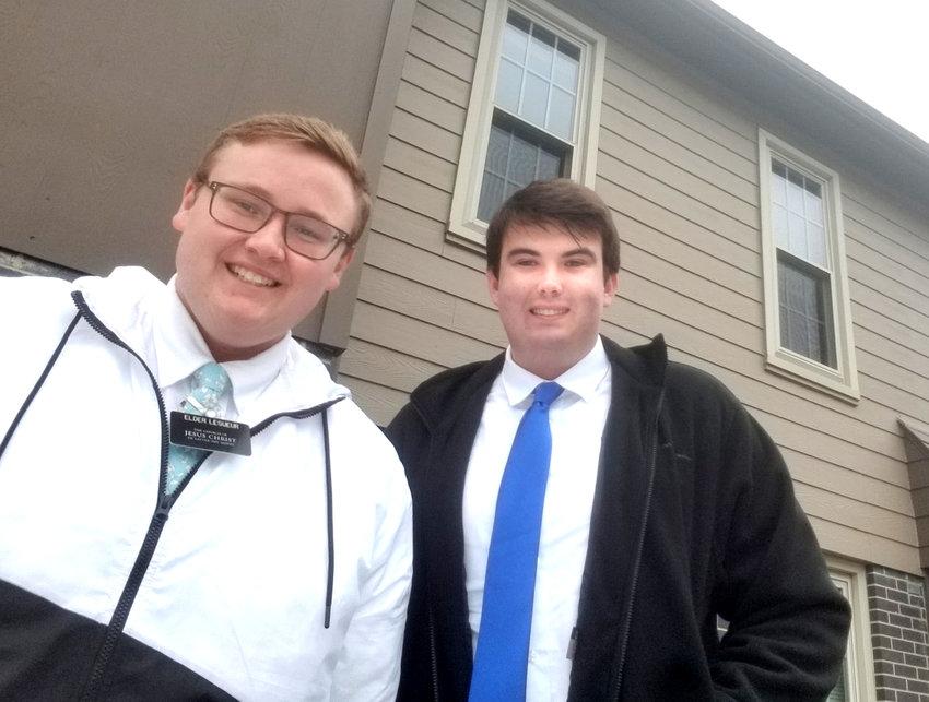 Jarron LeSueur, left, and Joshua Hubbs are Mormon missionaries in the Blair community.