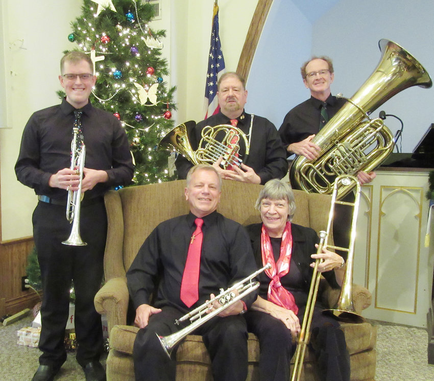 Members of the NE-Brass-ka Brass Quintet are Ryan Beasley and Gary Fugman, trumpets, David Rush, French horn, Sharon Fugman, trombone and Jeff Mount, tuba.