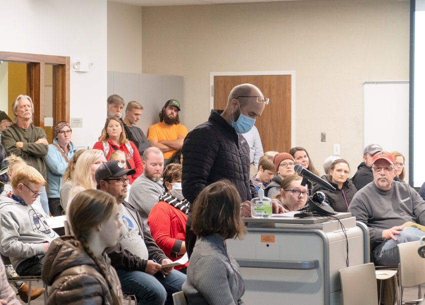 Dr. Tuck Smith speaks during a public hearing on a proposed ordinance for a mask mandate by the Blair City Council on Thursday at the Blair Public Library and Technology Center. The council voted against the ordinance.