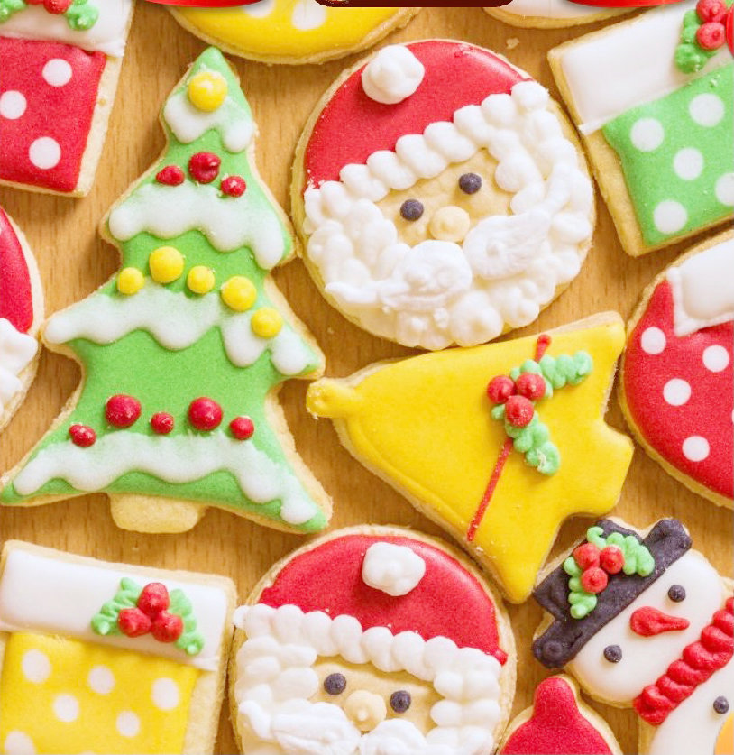 Decorated in bright colors, Christmas Cut Out Suger Cookies are sure to delight.