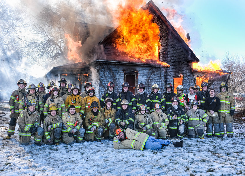 Firefighters from Blair, Fort Calhoun, Arlington, Kennard, Missouri Valley and Irvington participated in a practice burn Saturday in Blair.