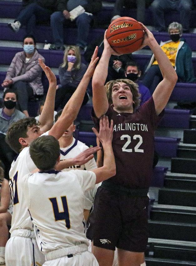 Arlington junior Nick Smith goes up strong for a shot at the rim Saturday at Tekamah-Herman High School.
