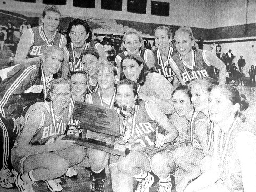 The 1997-98 Blair girls basketball team poses for a photo with their championship plaque from the Nebraska Prep Holiday Classic in Omaha. The Bears won the tourney and went on to qualify for the Class B state tournament.