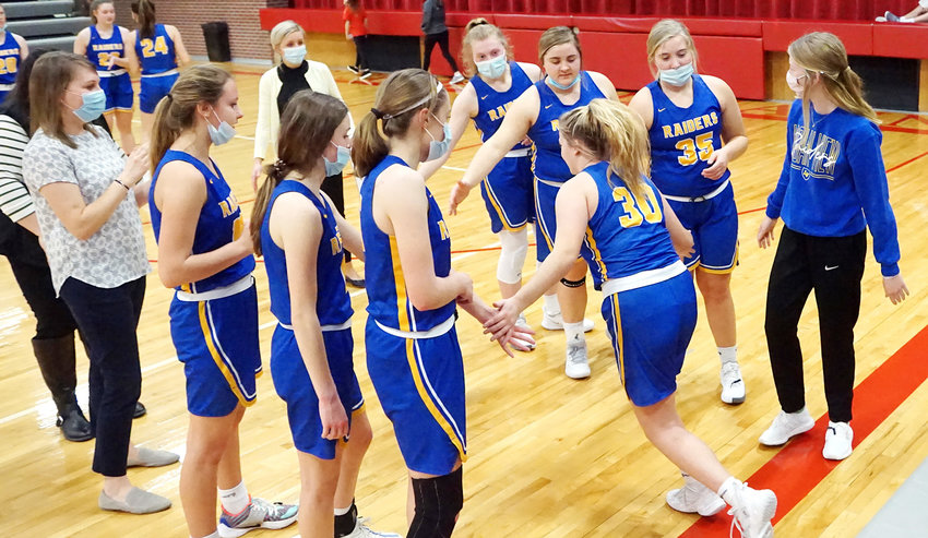 Senior Josie Kahlandt #30 gets good luck wishes during the introduction of the starting lineup for the LVSS before tipoff of the Bishop Neumann game.