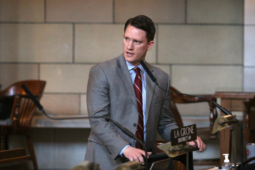 State Sen. Ben Hansen speaks during a session of the Nebraska Legislature in Lincoln.