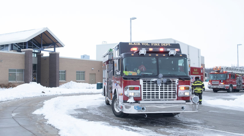 Blair, Fort Calhoun and Kennard firefighters responded to a small fire at Deerfield Primary School on Thursday in Blair.