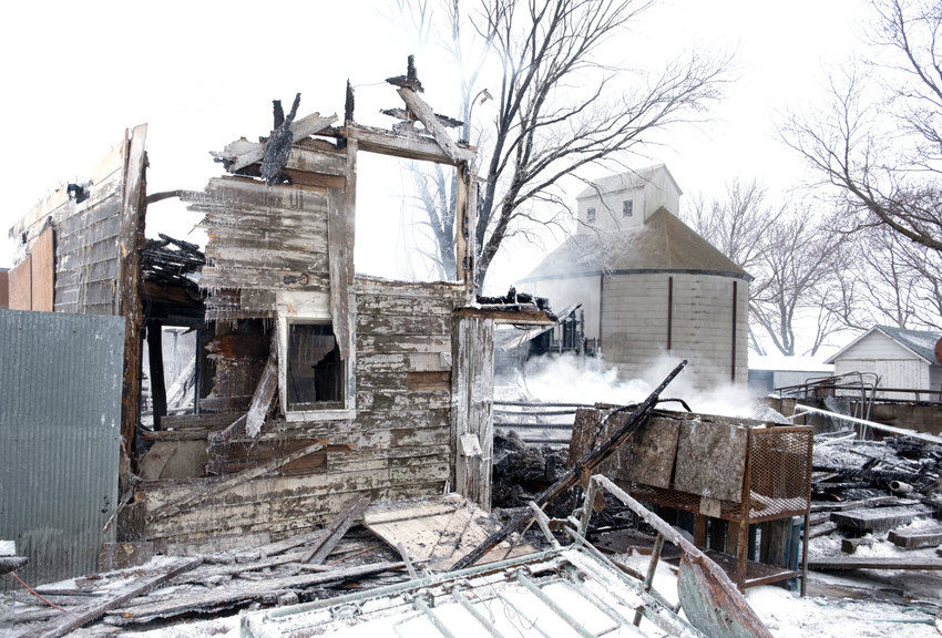 Fire destroyed a barn on the Camenzind farm near the intersection of county roads  37 and P38 Monday morning. The structure was fully engaged when firefighters arrived. Around 50 goats perished as a result of the fire.