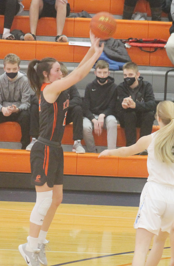 Sadie Nelson puts up a 3-point shot during the BRLD game.