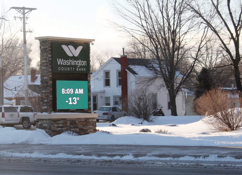 The temperature Tuesday morning was -13 in Blair, according to the sign at Washington County Bank. Temperatures got as low as -20 at the Blair Municipal Airport.