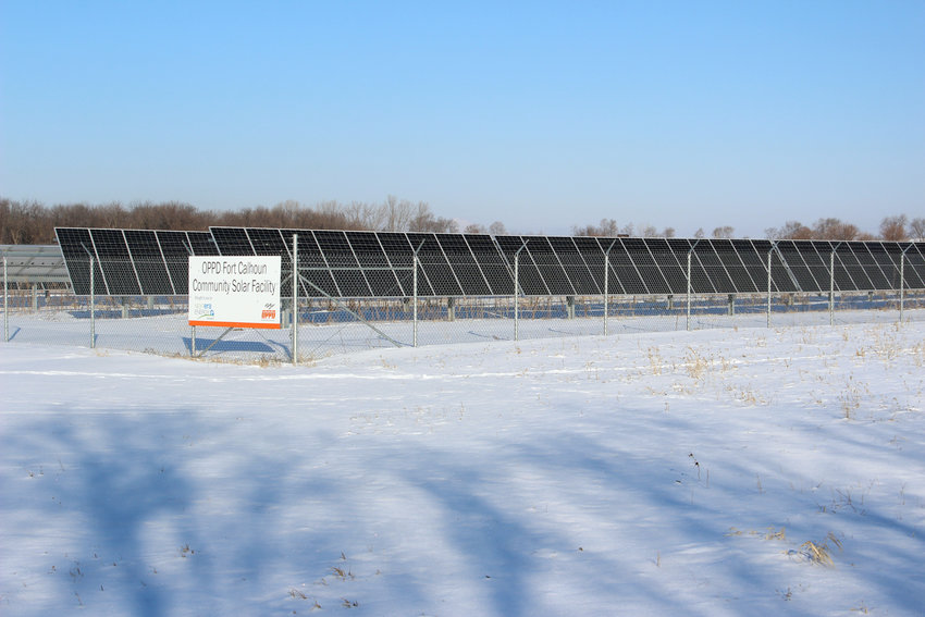A solar farm of 17,500 panels that produced five megawatts of power sits on County Road 34 in Fort Calhoun. The facility is operated by Omaha Public Power District.