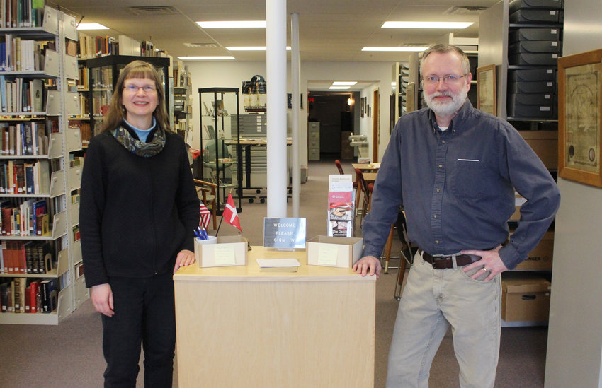 Jill and Mike Hennick have continued working at the Danish American Archive and Library though the facility has been closed to the public since the pandemic began more than a year ago.