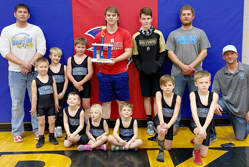 The BRLD youth wrestling club wrestled in a duel at Clarkson, and came home with 2nd place out of 6 teams.  Team members include: (Front from left) Patrick Punke, Cravin Santifer, Charlie Lane, Rhett Tremayne, Ryan Tremayne, Dutch Hardeman and Coach Dylan Lane; (back from left) Coach Lance Sovde, Paxton Lane, Carsyn Miller, Keaton Kampa, Gavin Hardeman and Coach Clay Konicek.