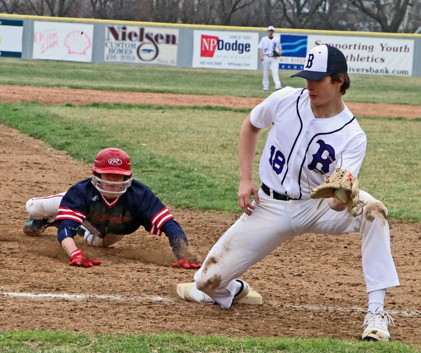 Blair third baseman Shea Wendt nabs a bouncing throw from the outfield Thursday at Vets Field.