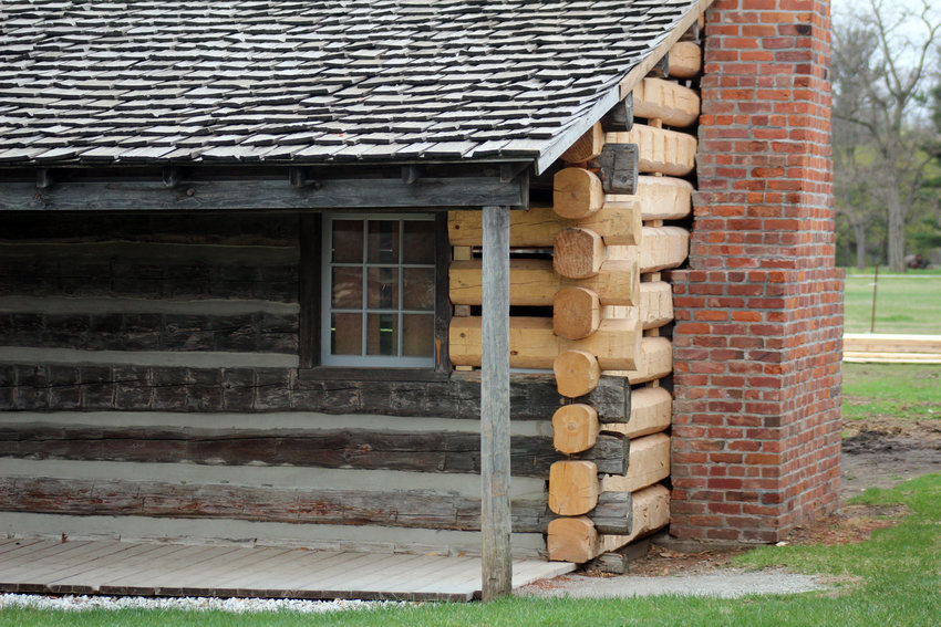 The west barracks at Fort Atkinson is getting new logs installed as part of an almost $500,000 grant from The Leona M. and Harry B. Helmsley Charitable Trust.