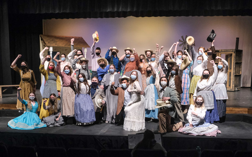 """The Blair High School cast of """"Oklahoma!"""" perform the iconic number during rehearsal Monday in the Lela Neve Auditorium."""