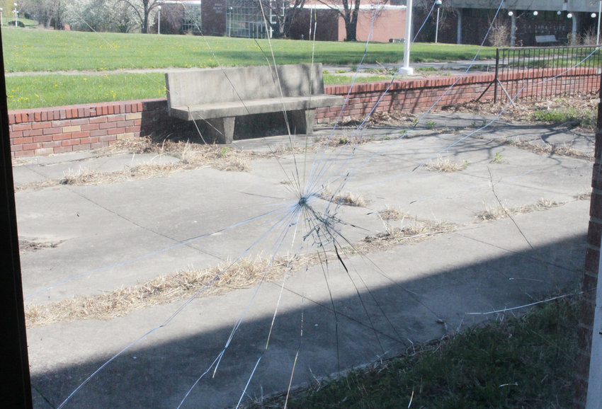 Vandals shattered a large picture window in Mickelsen Hall on April 19 on the former Dana College campus.