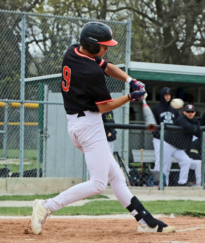The Pioneers' Jake Seina makes contact with a Branched Oak pitch Thursday in Fort Calhoun.