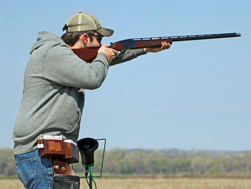 Marskman Weston Lupardus takes aim during Saturday's shoot at the Blair Youth Shooting Sports range.