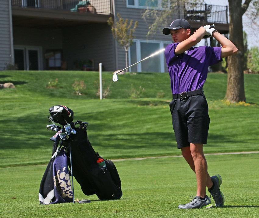 Blair golfer Easton Chaffee hits a drive down the fairway Tuesday at Tiburon Golf Club.