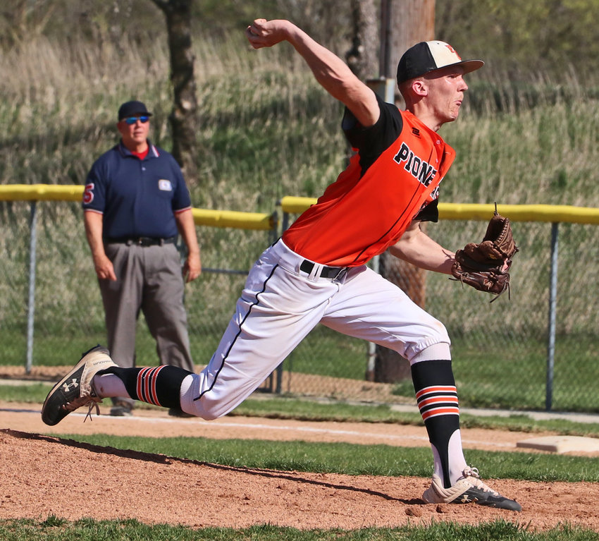 Pioneers right-hander Tylan Conner pitches Monday in Fort Calhoun.