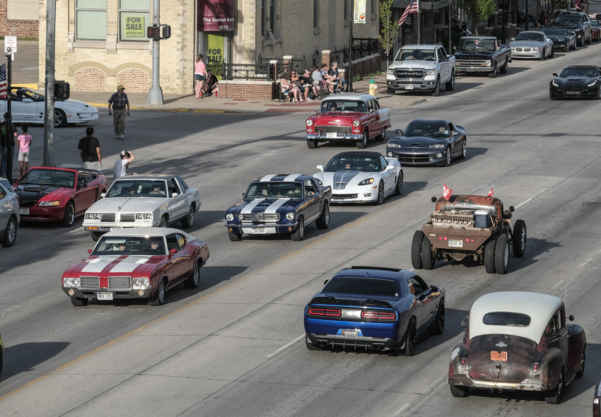 Vintage automobiles, trucks and hot rods cruise Washington Street on Saturday evening for Blair Cruise Night.