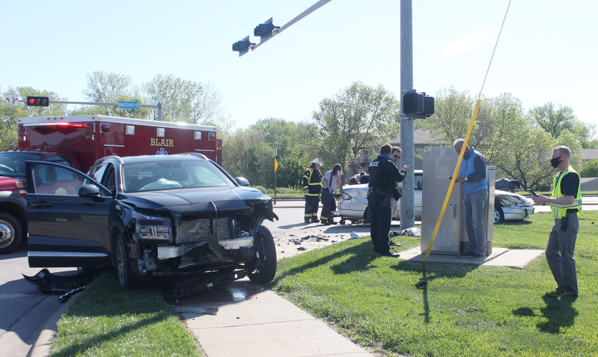 Blair police and Blair Rescue responded to a two-vehicle accident at the intersection of 19th and Wright streets on Tuesday morning. One person was transported to Memorial Community Hospital and Health System.