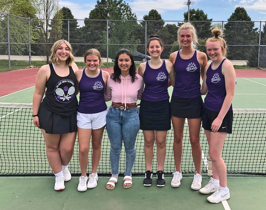Blair tennis players Jennifer Cej, from left, Taeja Hipnar, Anissa Delgado, Phoenixx Penke, Maicy Lourens and Delaney Dishman celebrated Senior Night on Friday at Stemmermann Park.