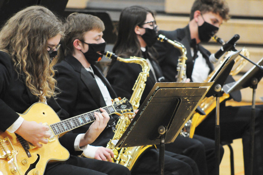 Mike Black, Dayton Carson, Mia Linder and Grant Seagren performed with the Jazz Knights on Tuesday evening.