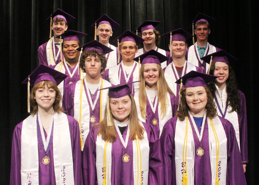 Blair High School will hold graduation at 1 p.m. Sunday. Pictured are the Top 10 percent of the class. Front, from left: Sloan Lammers, Morgan Thompson, Olivia Bartelson. Second row: Riley Camelin, Emma Cada, Emilee McGill. Third row: Nathan Hikeyl, Nolan Osterhaus, Lance Acker. Back: Jakob Andersen, Conner Jensen, Chase Jensen, Cole Wilkins.